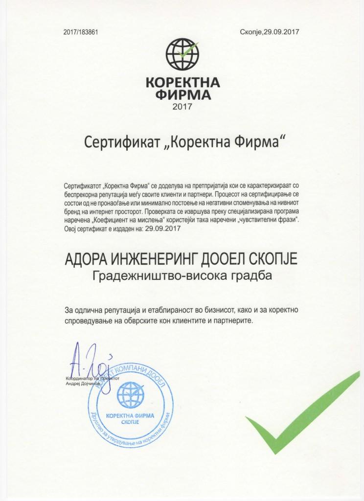 Sertifikat Korektna firma Adora inzenering